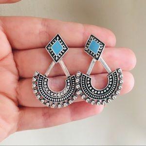 Boho silver tone earrings